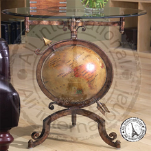 NAUTICAL LOOK IRON BASE WITH WORLD GLOBE AT THE MIDDLE COFFEE TABLE