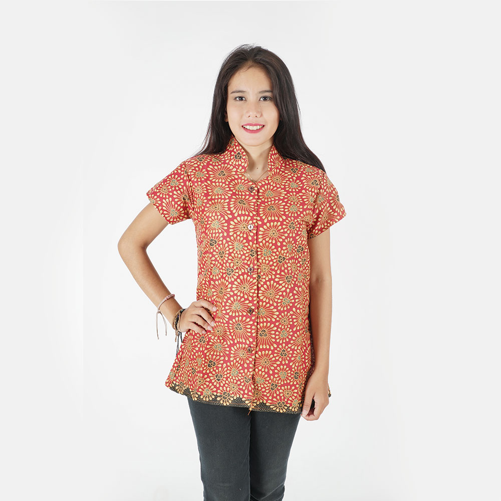Beautiful Semi formal Modern Top Batik Printed Short Sleves made in Indonesia 100 % cotton