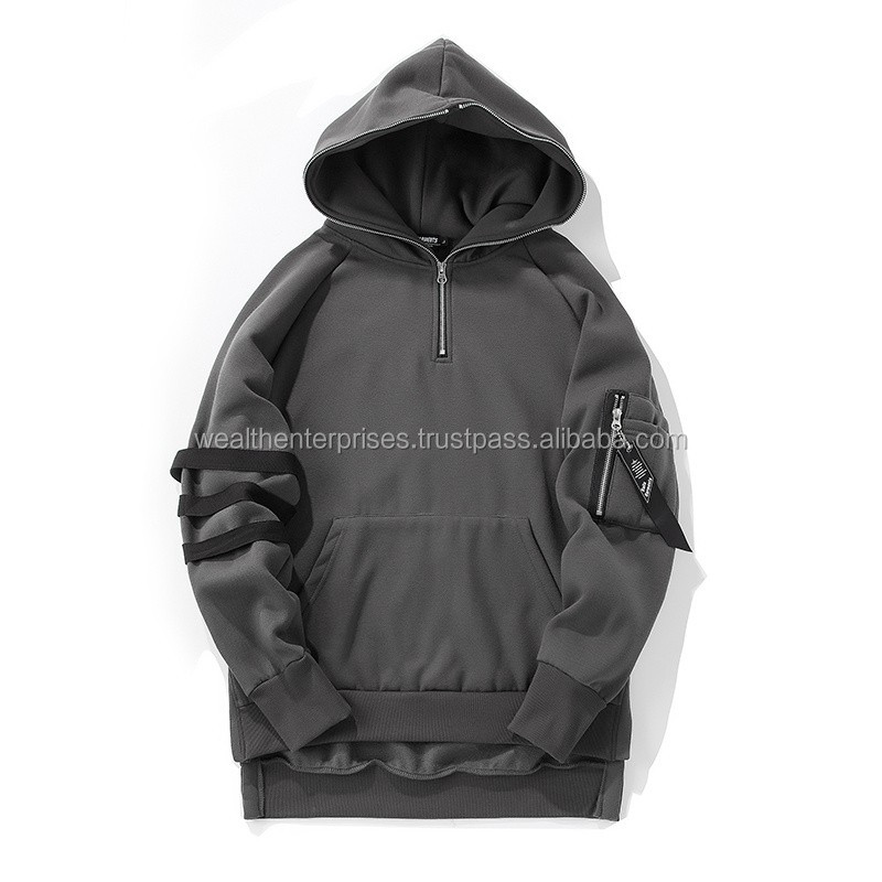 Light color thick fabric fleece hoodie with straps on sleeves/Light color heavy weight fleece adults hoodies