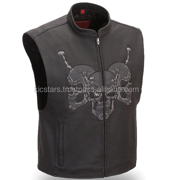 Wholesale High Quality Men Leather Motorbike Vest