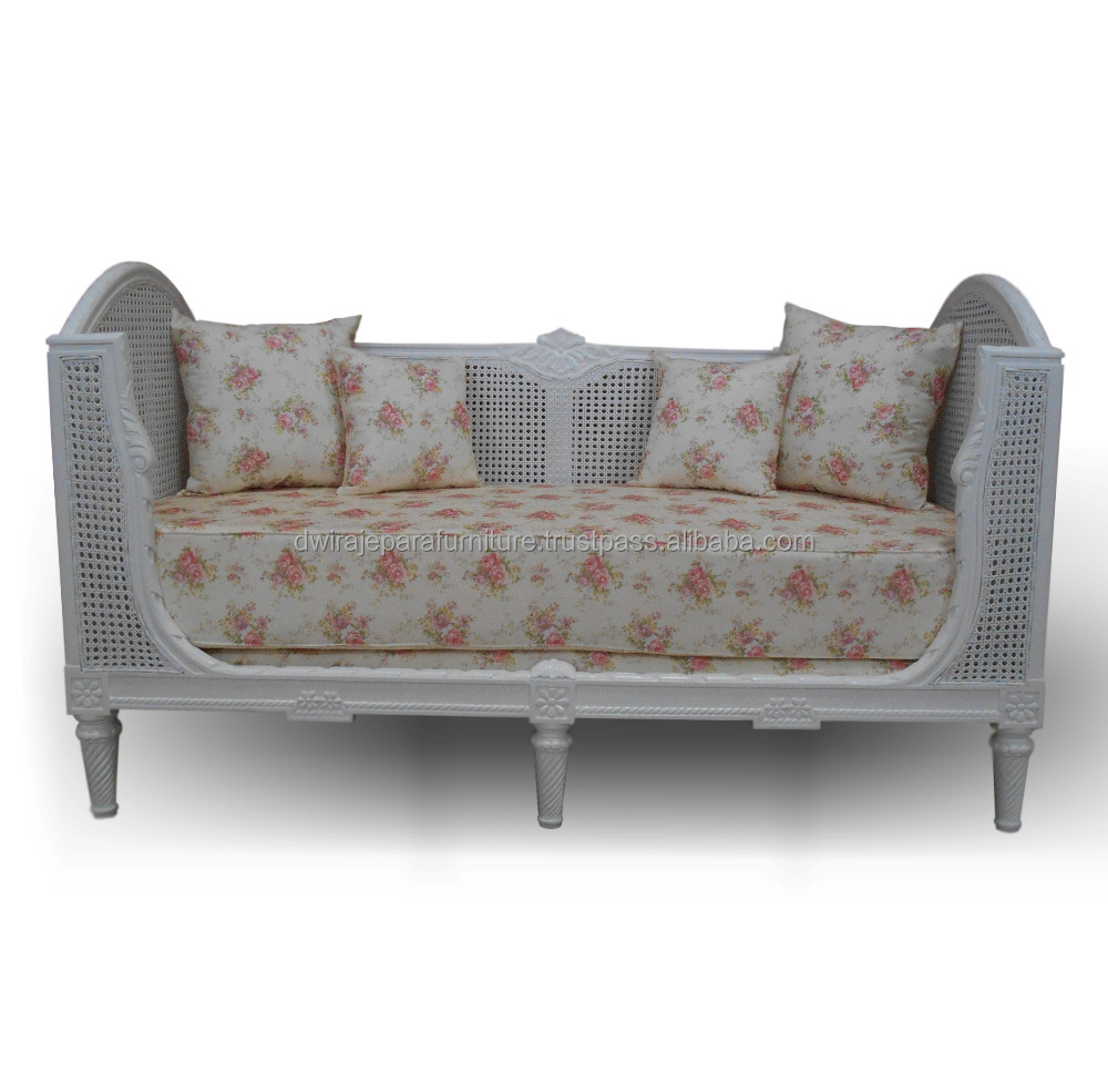 Rattan French Furniture Sofa Living Room - Mahogany Classic Bench Furniture Living Room Sofa sets.