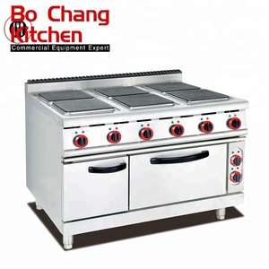 commecial electric cooking range with 6 cooking hot plate and electric oven for sale