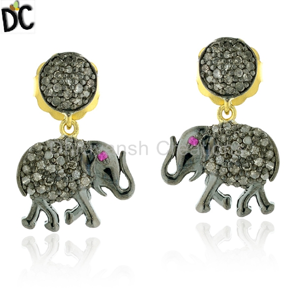 Elephant Shape Pave Diamond Earring Gold and 925 Silver Earring Manufacturer Art Designer Jewelry