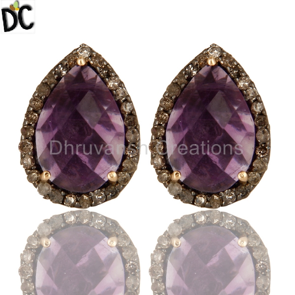 Natural Amethyst Gemstone Pave Diamond Stud Earrings 14k Gold Silver Stud Earrings Indian Jewelry