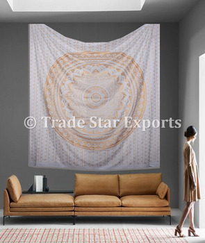 Wholesale indian printed tapestries cotton fabric hangings Indian mandala wall tapestry