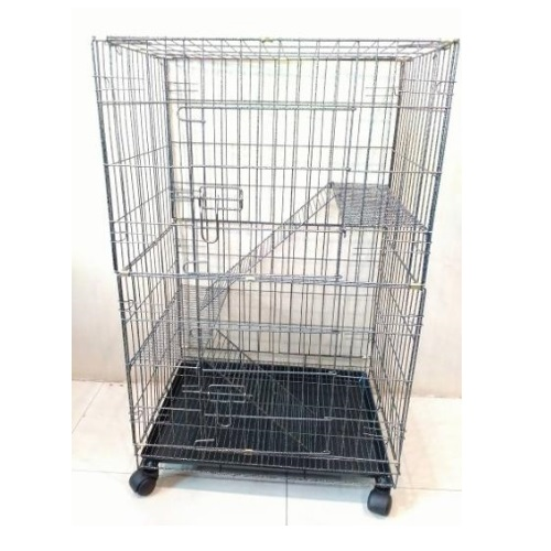 2 Level Portable Cat Cage with Wheels