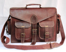 Real Leather Brown Messenger Cross body Vintage Style Leather messenger laptop bag