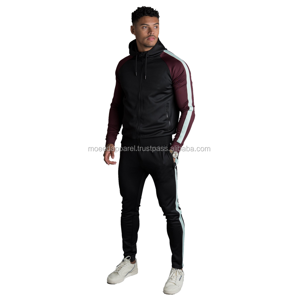 100% poly tracksuit pullover track suit gym tracksuit for men
