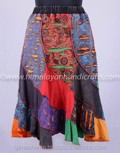 Vintage Patchwork Colorful Boho Maxi Skirt HHCH 129 A