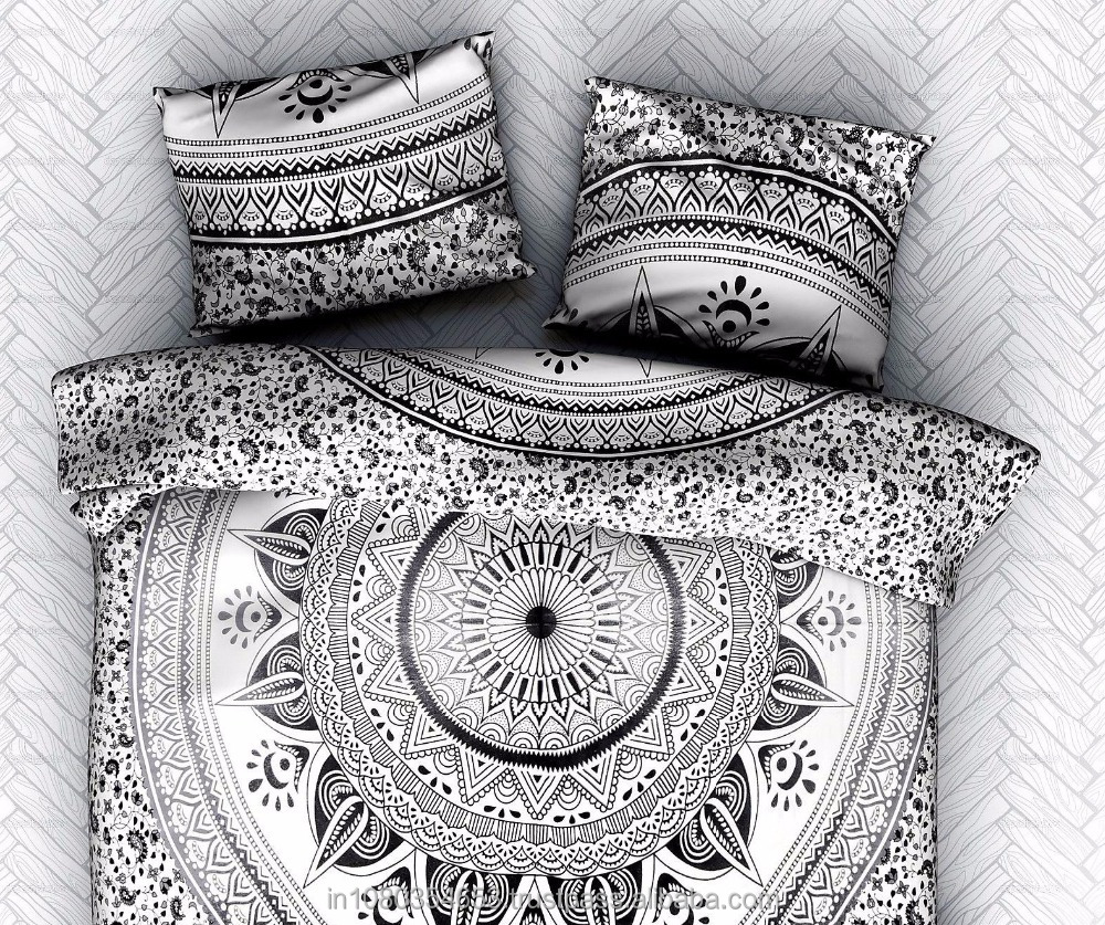 Black Diya Baati 100% Cotton Mandala Theme Queen Size Throw Bohemian Bed Sheet / Wall Tapestry
