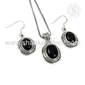 Latest festive fashion black onyx gemstone 925 sterling silver jewelry set wholesale supplier