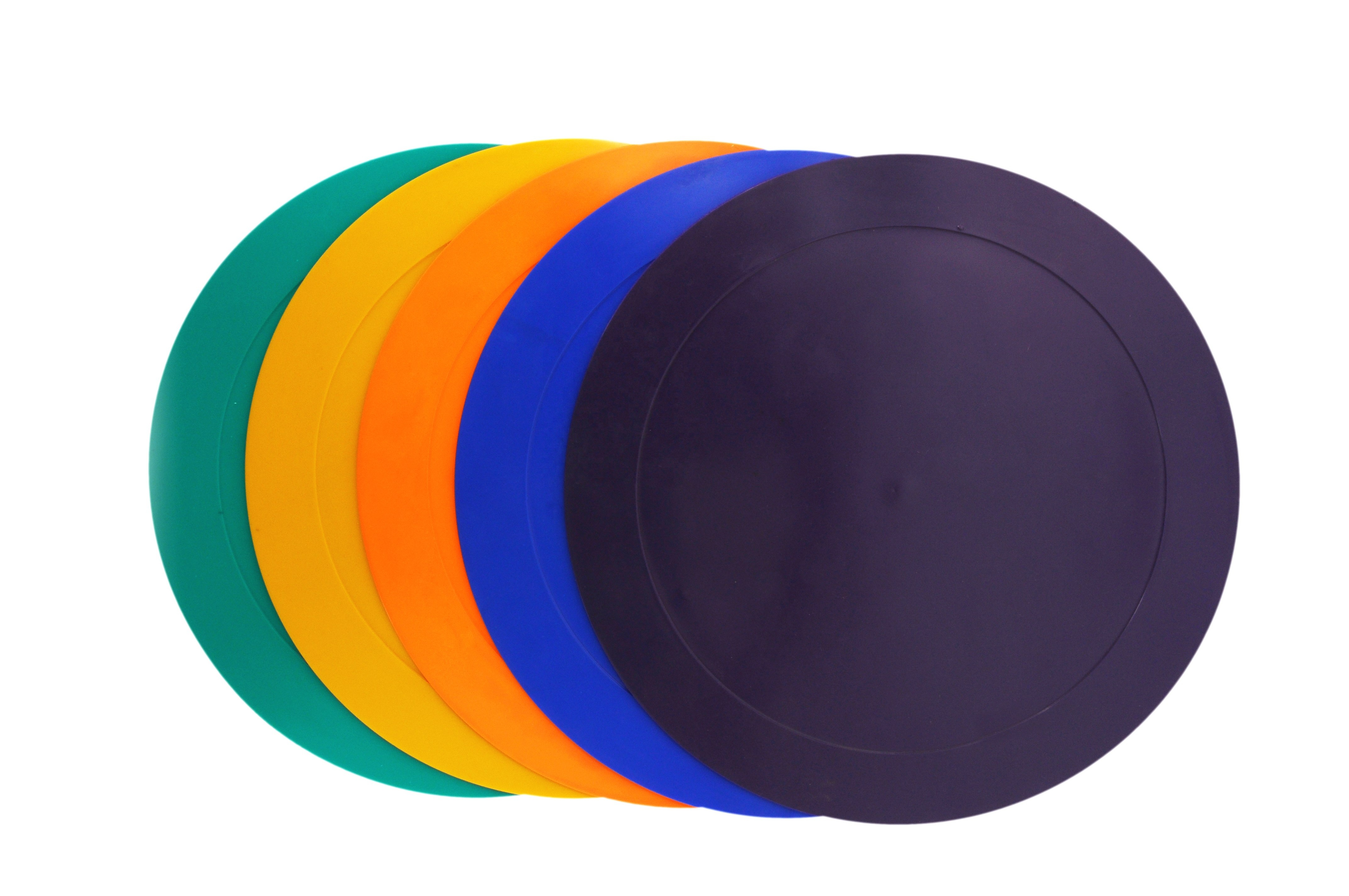 Anti Slip Colorful Rubber Floor Poly Carpet Spot Markers for Training & Kids Activities also called Disc Flat Cone Markers