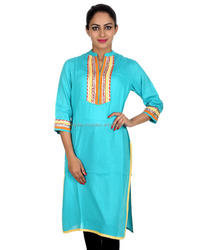 Sea Green Lace Hand Work Round Neck Rayon Kurti For Women