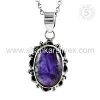 Bridal fashion jewelry silver charms 925 sterling amethyst gemstone silver jewellery supplier jaipur