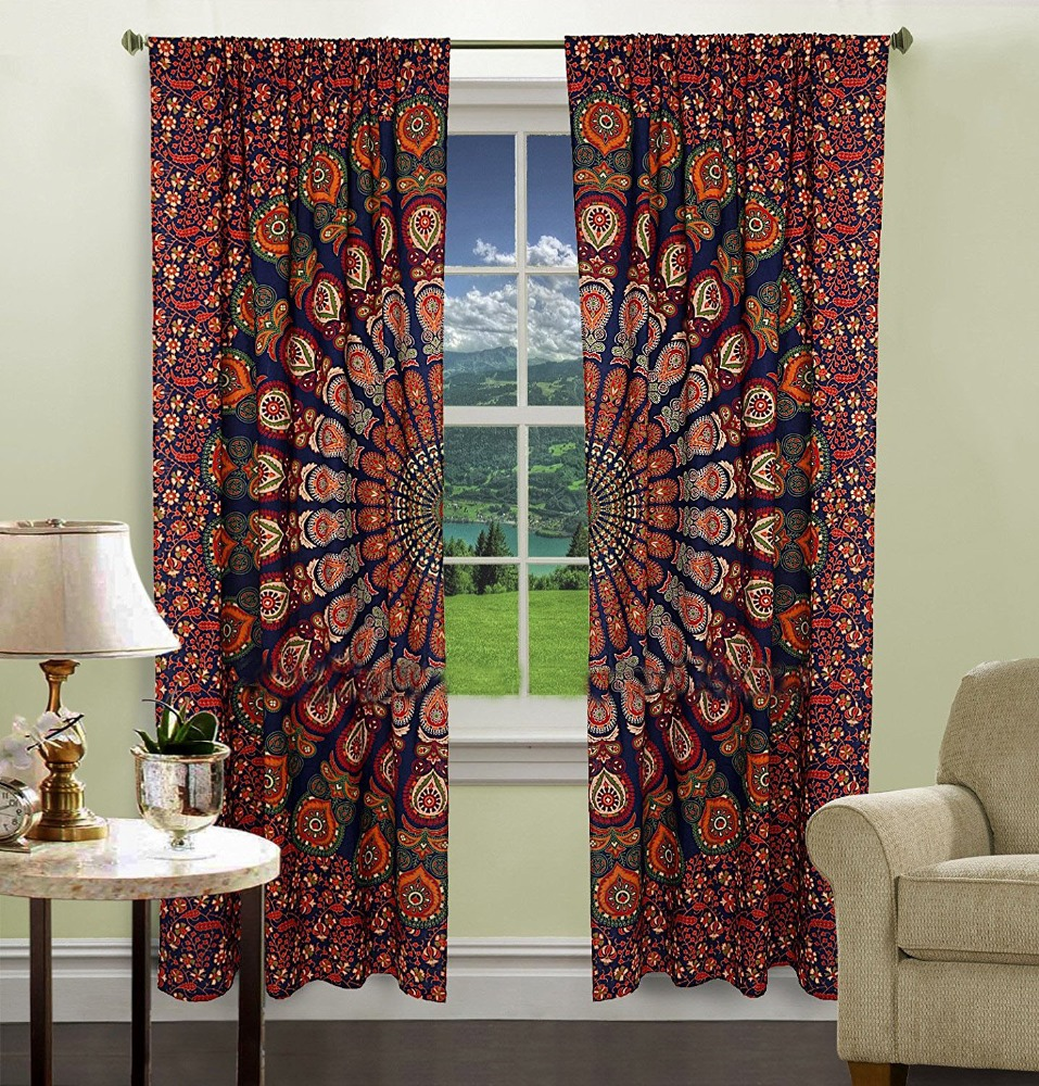 Indian Barmeri Mandala Cotton Window Door Cover Curtain