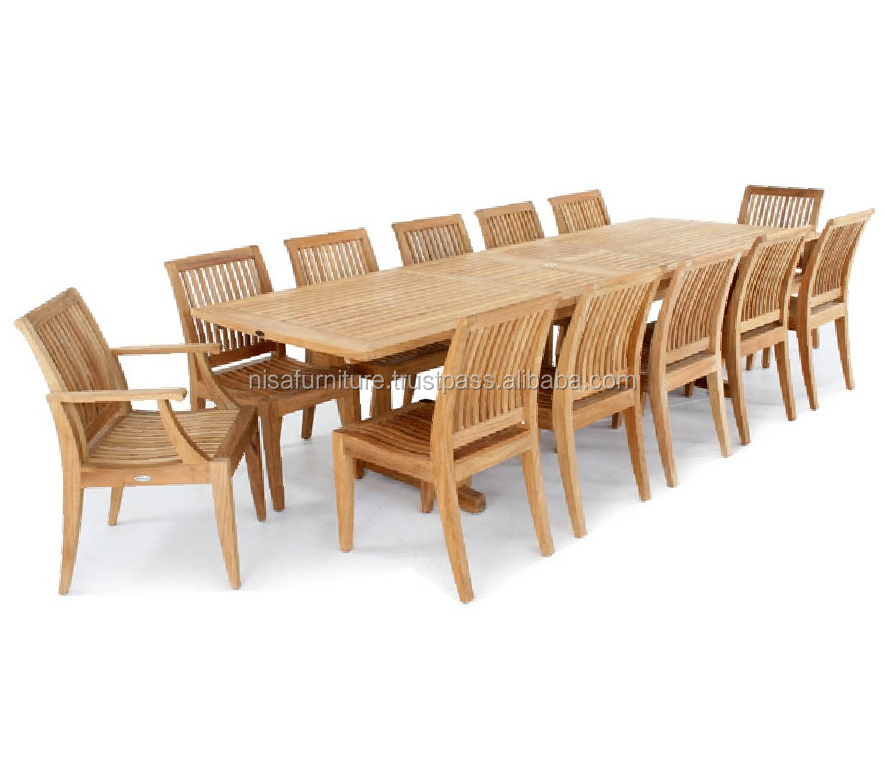 Extendable Rectangular Teak Dining Table Sets Outdoor Patio Garden Furniture