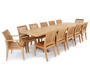 Extendable Rectangular Teak dining chairs and table Sets Outdoor Patio Garden Furniture