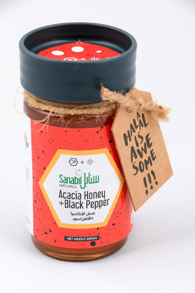 Acacia Honey + black pepper 500gm