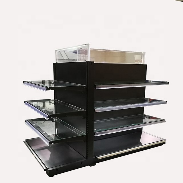durable led cleaning  display rack with glass shelf steel shelf
