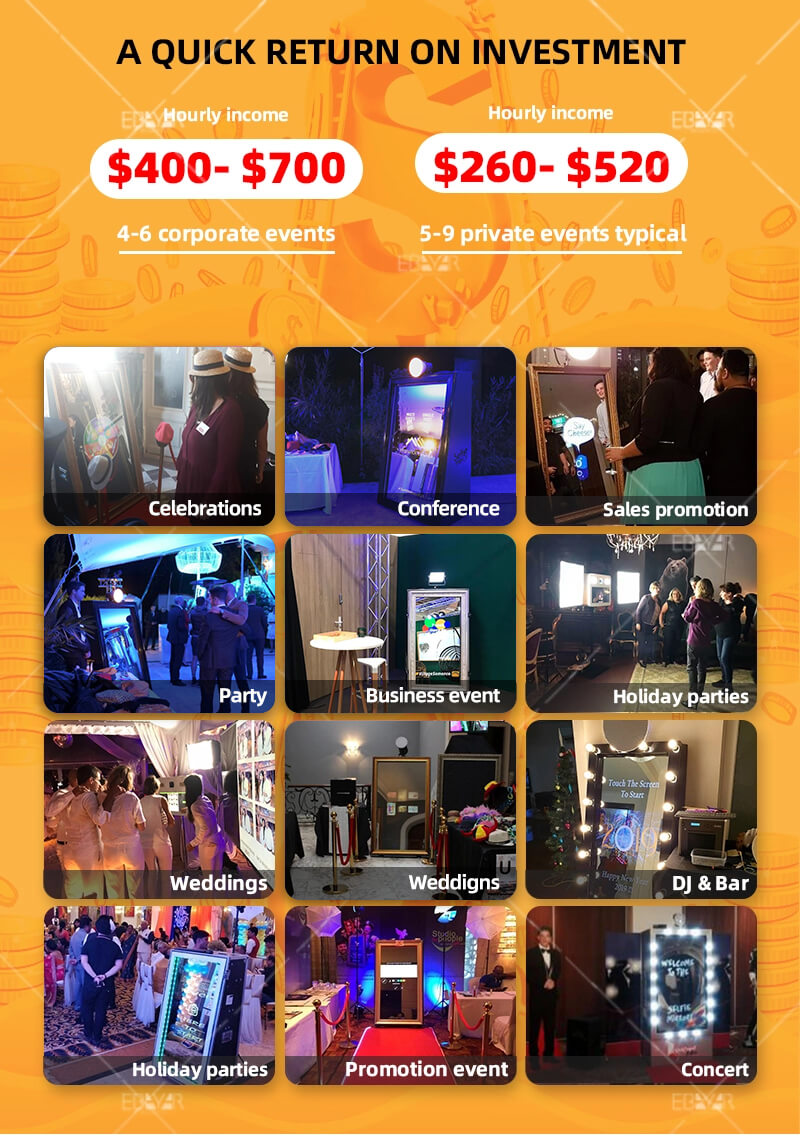 Popular design mirror booth Me printing machine with selfie function and DSLR camera inside for events