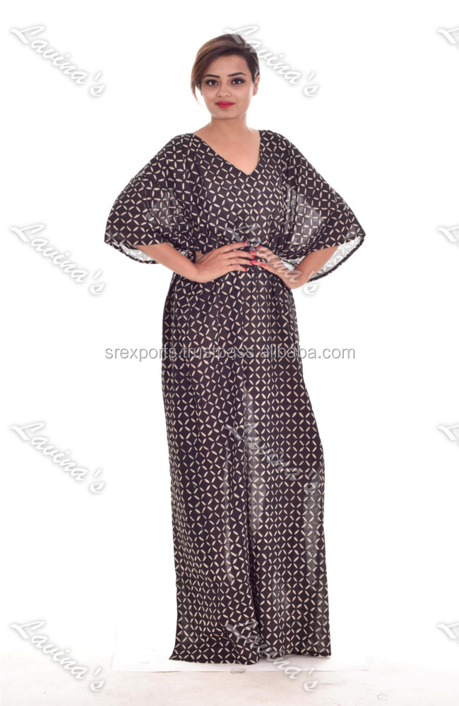 Cotton Block print Women Kaftan Long Dress Cotton Long Caftan Night Wear Maxi Dress