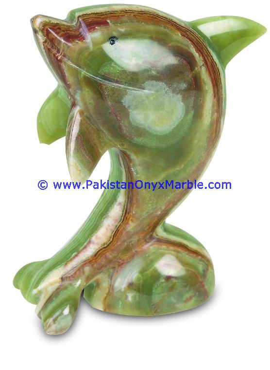 HAND CARVED BEST STATUE SCULPTURE ONYX DOLPHINS FISH LIGHT GREEN/MULTI BROWN/WHITE