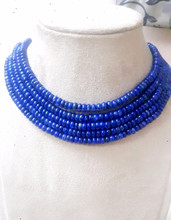 Hot selling Natural Blue Color Smooth Roundel 4 mm Stone& 16 inches Strand Lapis Lazuli Gemstone Beads
