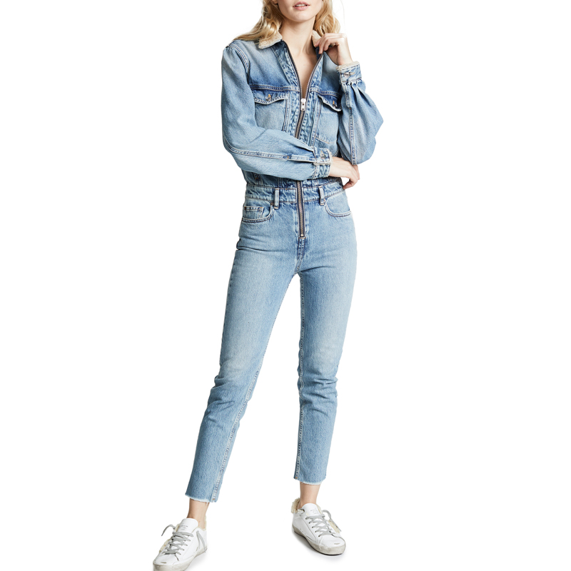 2019 Winter Long Sleeve Damen Jumpsuit Denim Reißverschluss vorne Strampler