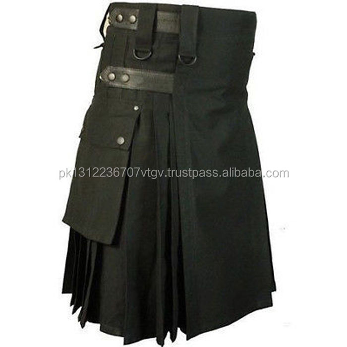 Heavy Duty 100% Cotton Black Utility Kilt with Leather Straps.