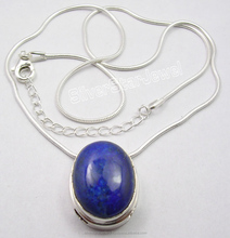 Fashion Women Jewelry Resellers 925 Solid Silver LAPIS LAZULI 2-in-1 Snake Chain Pendant Neckless 18.25""