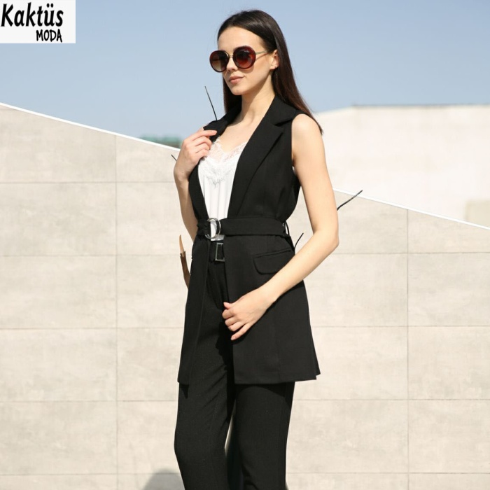 summer high quality 2018 ladies sleeveless waistcoat belted coat for women