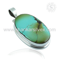 Turquoise gemstone pendant handmade jewelry 925 sterling silver pendants wholesale jewelry online