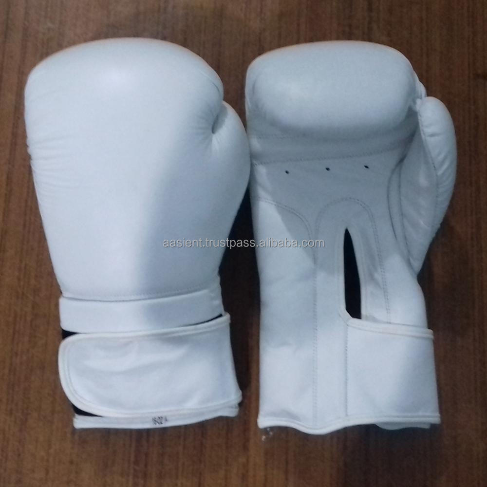 Standard Leather Boxing Gloves in White Women Men Boxing Gloves MMA Muay Thai