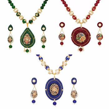 Jaipur Mart Gold Plated Maroon & Green & Blue Color Colored Glass Stone, Color Beads, Pearl Necklace With Earrings Combo Of 3 Pi