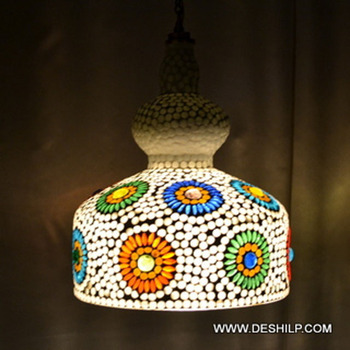 WHITE MOSAIC GLASS HANGING LAMP  WITH FITTING