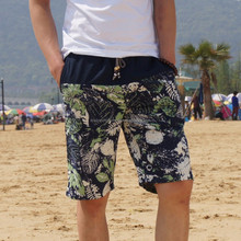 201 Men's linen shorts personality ethnic style color stitching summer new men loose floral beach shorts
