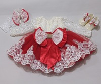 Baby Dress 0-12 Months Long Sleeves With Shoes and Hair Band