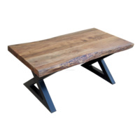 Industrial Furniture Live Edge Coffee Table Solid Wood & Iron Metal Legs Industrial Coffee Table