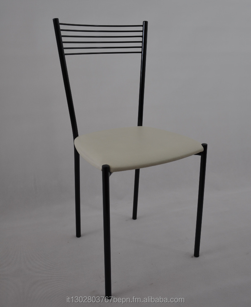 Chairs for Kitchen, Dining Room, Bar. Elegance by Tommychairs, structure in painted steel and seat eco leather color ivory