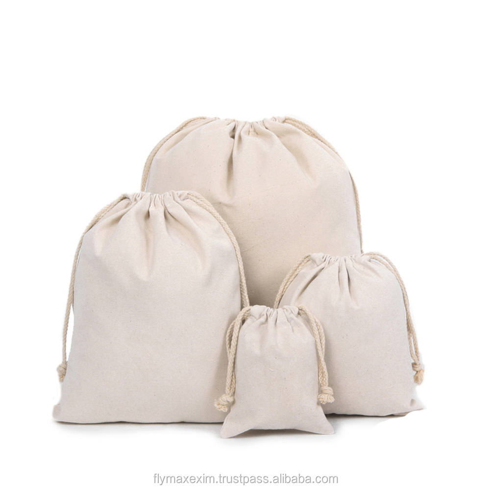 2015 Fashional Customized Wedding Decoration Small Unbleached Natural Drawstring Muslin Bag
