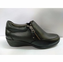 LADIES BLACK CASUAL SHOES WITH INNER ZIP ON PU SOLE