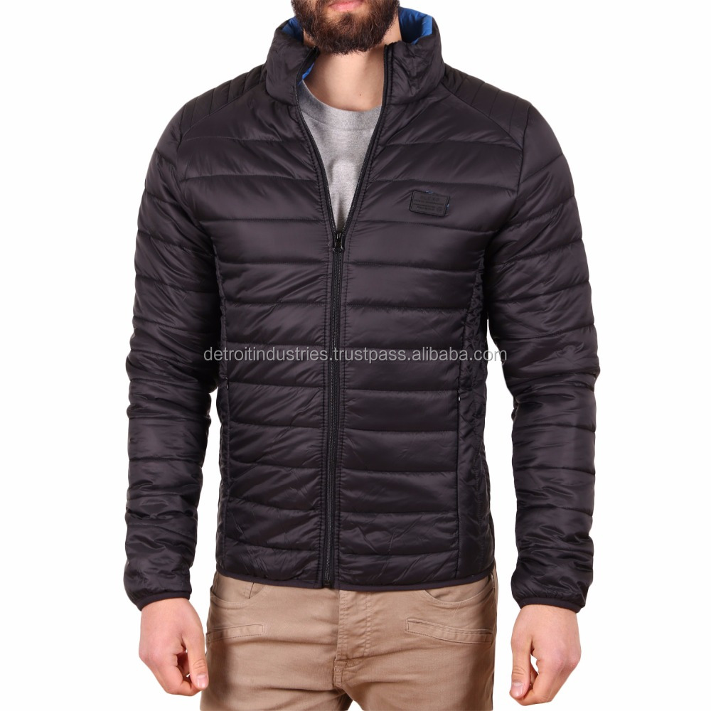 Black Slim Fit Pattern Quilted Jackets