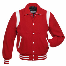 2018 fashion red wool white stripe varsity woolen varsity jacket/ baseball play all over style varsity jackets