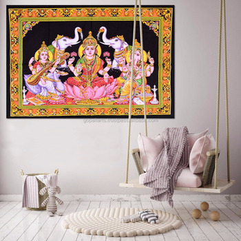 Indian Handmade Ethnic Poster Tapestry Throw Cotton Goddess Lakshmi Design Meditation Wall Hanging Poster