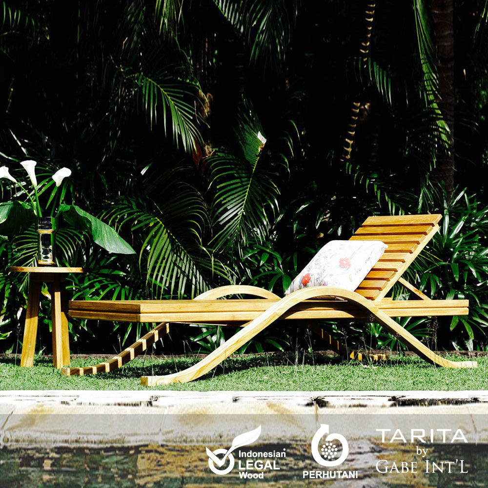 Adjustable Sun lounger modern contemporary style with slatted body solid teak wood ideal for outdoor use