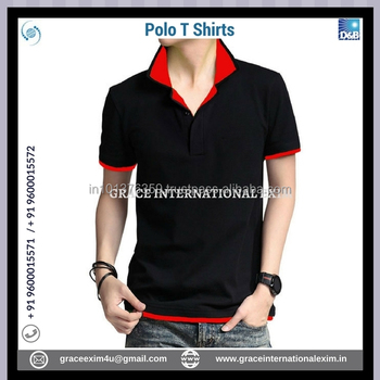 Black Color Mens Polo T-shirt With Red Collar