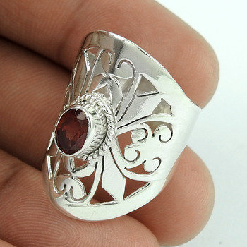Attract beauty bent design garnet gemstone filigree ring solid silver jewelry 925 sterling silver rings