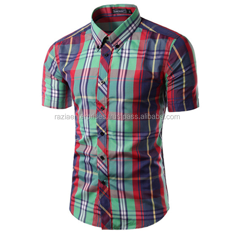 Linen check casual dress shirts mens short sleeve checked shirts