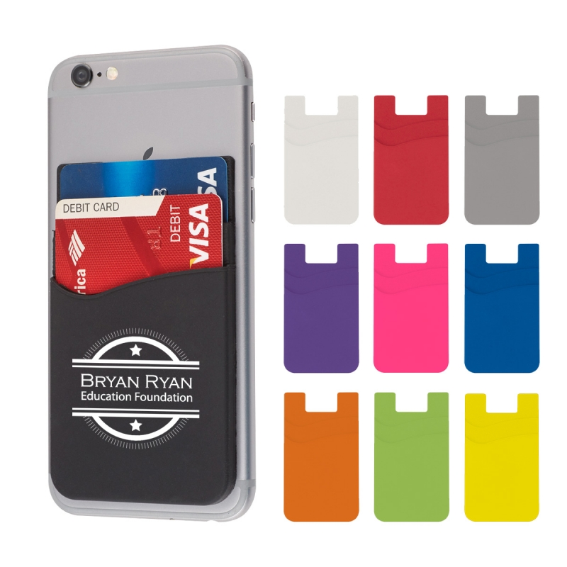 Dual Pocket Silicone Phone Wallet - silicone material, adheres to back of phone with strong adhesive and comes with your logo