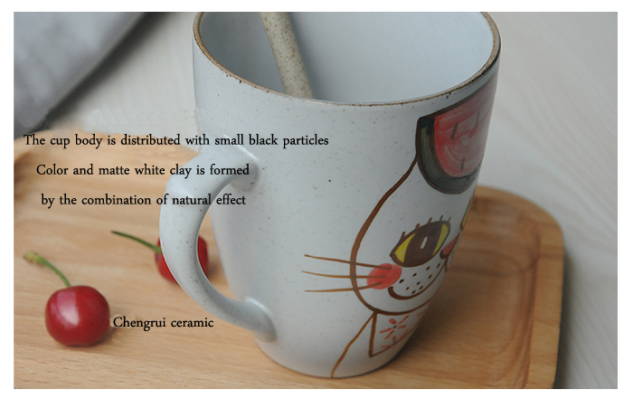 ceramic sublimation cartoon cat shaped wholesale wonderful gift with spoon matte mugs